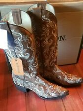 Gorgeous Brown Embroidered Stetson Willow handmade Western Cowboy Boots 9.5m