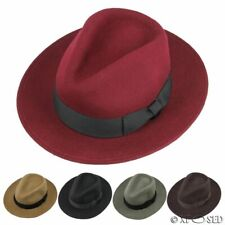 New 100% Felt Wool Crushable Fedora Trilby Wide Brim Hat Size S M L XL 5 Colour