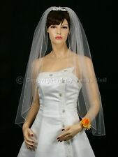1T White Bridal Fingertip Length Pencil Edge Wedding Veil