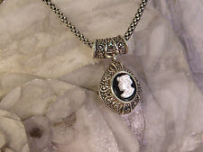 MARCASITE CAMEO STERLING PENDANT NECKLACE MOTHER OF PEARL 925 ORNATE MOP 2 SIDED