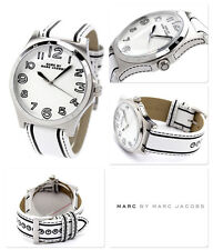 Marc Jacobs  Women's Henry Black & White Leather Band White Dial Watch MBM1230