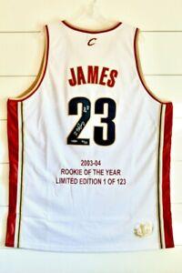 "RARE 2003-04 LEBRON JAMES Autographed Cavaliers ""ROY"" Jersey Upper Deck COA /123"