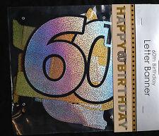 60th Happy Birthday Bannière de lettres Noir Argent Or Décoration de fête 60 ans