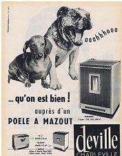 PUBLICITE ADVERTISING 114 1962 DEVILLE Charleville poële à mazout