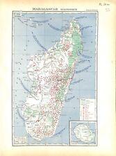 Empire Colonial Français Madagascar Economique et La Réunion CARTE ATLAS 1937
