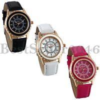 Fashion Women's Leather Quartz Watches Rosegold Tone Gear Shape Case Wrist Watch