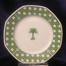 """VILLEROY & BOCH HEINRICH CARIBIC BREAD PLATE 6 3/4"""" PALM TREE GREEN BASKET WEAVE"""
