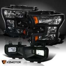 15-17 F150 Black Headlights + Clear LED Bumper Driving Fog Lamps Replacement
