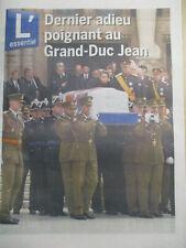 JOURNAL DES FUNERAILLES DE : GRAND-DUC JEAN DU LUXEMBOURG 1921-2019 : 06/05/2019