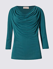 EX M&S PER UNA MODAL BLEND 3/4 SLEEVE TEAL TOP BLOUSE SIZES 8 TO 22