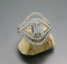 Exclusive Brilliant Diamond-Ring 1,13 Carat 750er White Gold New Geometric