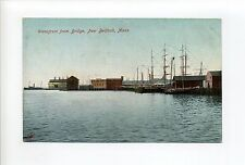 New Bedford MA Mass Waterfront from bridge, ships, masts, buildings, postcard