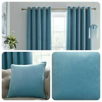 Laurence Llewelyn-Bowen MONTROSE Duck Egg Blackout Eyelet Curtains Cushions