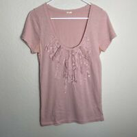 J. Crew Sequin Embellished Tee Short Sleeve Top Scoop Neck Pink Sz M