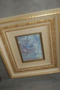 Still life print on panel in ornate frame