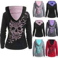 Womens Long Sleeve Skull Print Sweatshirt Hoodie Hooded Tops Jumper Pullover US