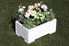 White Wooden Decking Trough Planter Veg Bed Flower Plant Pots 50x32x23 (cm)