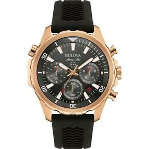 Bulova Marine Star Men's Chronograph Rubber Strap Rose Gold Watch 97B153