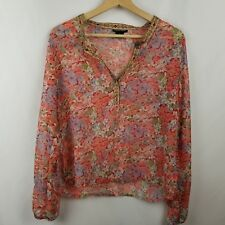 Boston Proper Womens Shirt Size S Pink Floral Sheer Long Sleeve V Neck Blouse
