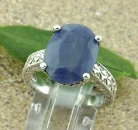 14k Solid White gold Ladies Natural  Blue Sapphire Solitaire ring 9.02 ct  heavy