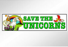 Save the unicorns funny car bumper sticker for mythical rare horses horns 200 mm