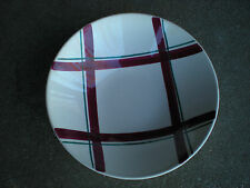 Vintage USA Pottery Serving Bowl w Green & Cranberry Plaid Design