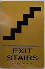 New listing Exit Stairs Sign - Gold(Aluminium, Gold/Black,Size 6X9).(ref1820)