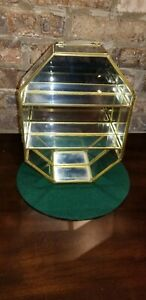 Vintage Mirrored Glass And Brass Curio Cabinet Display Case