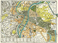 Lyon City Historical Map from 1918 Vintage Poster Print (Guides POL)