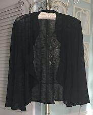 NEW ~ Plus Size 3X Black Knit Ruffle Open Cardigan Jacket Sweater