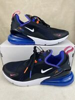 New Men's Nike Air Max 270 Running Shoes Size 9 Black White Blue DC1858-001