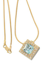Collier Gold 585 mit Brillant und Blautopas Carree - Goldkette - Collitär Kette