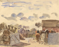 Jean Dryden Alexander (1911-1994) - Three Drawings, Horses and Landscapes