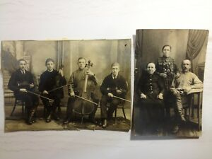Antique Photos Lot  Russian Family Tsarism Orchestra 2 pcs