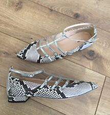 New JCrew Caged Flats in Snakeskin Printed Leather Sz 6.5 F4859 $168