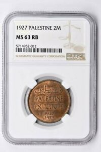 1927 Palestine 2 Mils NGC MS 63 RB Witter Coin