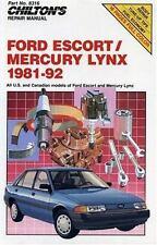 Ford Escort-Mercury Lynx, 1981-92 by Chilton Automotive Editorial Staff...