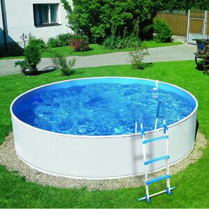 Azuro 300 Deluxe Stahlwandpool Ø 360 x 90 cm Weiß Blau Schwimmbecken