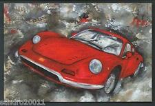Ferrari Dino - cartolina - disegno di Sergio Lombardino