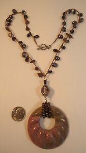 Lee Sands Wacky Friday Carved Rhodonite Pendant w Garnet & Pearls Necklace