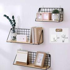 Home Hanging Holder Wooden Iron Wall Shelf Wall Mounted Storage Rack Organizer