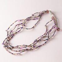 Multi Strand Seed Bead Beaded Chip Bead Purple Boho Bohemian Necklace
