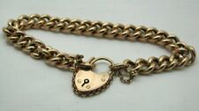 Antique 9 carat Rose Gold Curb Link Bracelet With Padlock Fastener