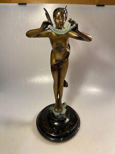 Vintage HandmadeBronze Nude Fairy Sculpture / Statue / Mythical Figurine