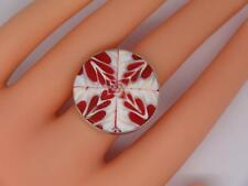 Sterling Silver Coral & Shell Mosaic Ring (One Size)- 6.2 grams, UK SELLER