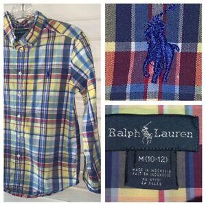 Polo Ralph Lauren Boys' Cotton Plaid Button Down Shirt Sz MEDIUM (10-12) EUC