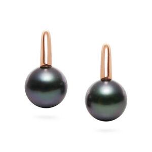 Simple Round Flawless 10mm+ Black Tahitian Pearl Drop Earrings 14K Rose Gold