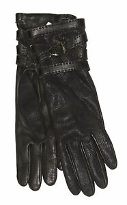 $495 Ralph Lauren Collection Purple Label Womens Leather Cashmere Gloves New