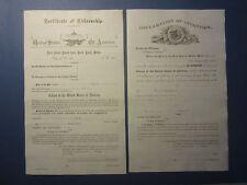 2 Old 1880's NEVADA Citizenship DOCUMENTS - Eureka Co. Certificate / Declaration
