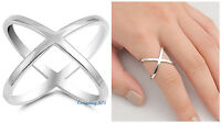 Sterling Silver 925 PRETTY CRISS CROSS DESIGN SILVER BAND RING 19MM SIZES 5-12